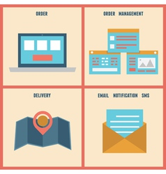 Flat process of e-shop Order and analytics vector image vector image