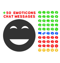 Glad smiley icon with bonus facial collection vector
