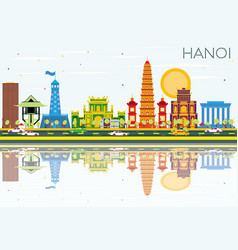 hanoi skyline with color buildings blue sky and vector image vector image