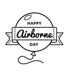 happy airborne day greeting emblem vector image vector image