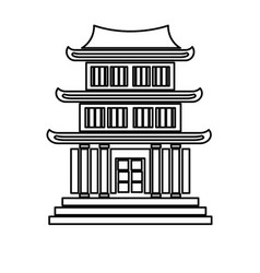 house japanese traditional chinese facade line vector image