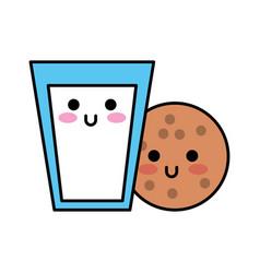 kawaii glass milk and cookie food cartoon vector image