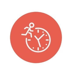 Man running on time thin line icon vector