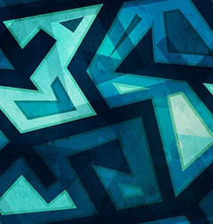 Marine blue geometric seamless pattern with grunge vector