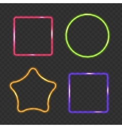 Neon frame rectangular star and round buttons on vector
