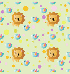 pattern with cartoon cute toy baby lion vector image vector image