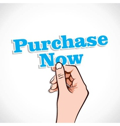 Purchase now word in hand vector