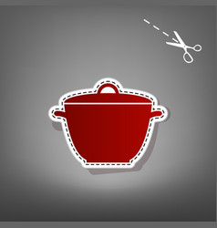 Saucepan simple sign red icon with for vector