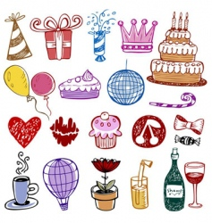 Set of birthday doodles vector