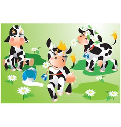 Set of cows cartoons on green meadow vector image vector image