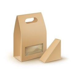 Set of handle lunch packaging for sandwich food vector