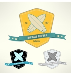 Set of surf badges t-shirt surfboard vector