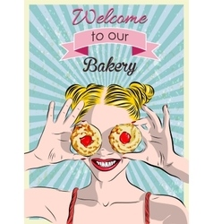 Sign in a bakery and the girl with cookies vector image
