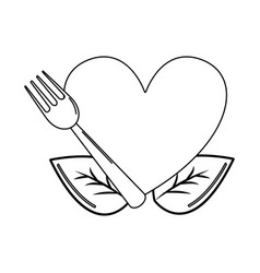 Silhouette heart with ribbon fork and leaves vector