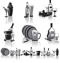 Still-life of spirits and glasses vector image