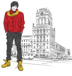 Stylish guy in the city-center vector