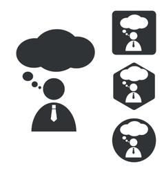 Thinking person icon set monochrome vector