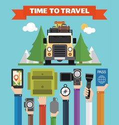 time to travel modern flat background with jeep vector image vector image