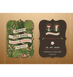 Tropical wedding bride and groom invitation card vector image