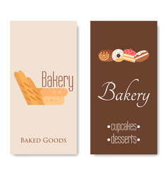 vertical bakery banners baking bread and cakes vector image vector image