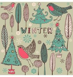 Vintage Winter Birds Pattern vector image vector image