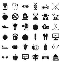 Wellness bodybuilding icons set simple style vector