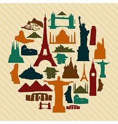 World landmark silhouettes set vector image