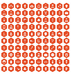 100 barber icons hexagon orange vector image