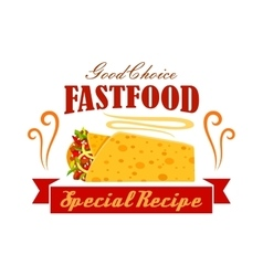 Fast food vegetable and meat burrito roll emblem vector