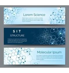 Molecular structure horizontal banners vector