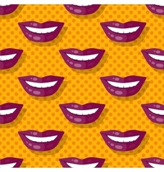 Seamless pattern smiling lips teeth on polka dot vector
