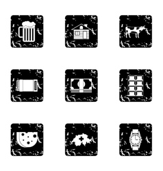 Tourism in switzerland icons set grunge style vector