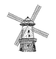 Old windmill engraving style vector
