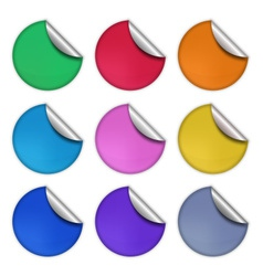Set of glossy round stickers eps 10 vector image