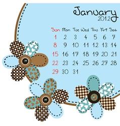 2012 january calendar vector image vector image