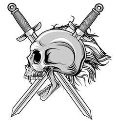 cross swords and skull vector image