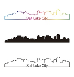 Salt lake city skyline linear style with rainbow vector