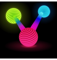 Abstract glow connected spheres vector
