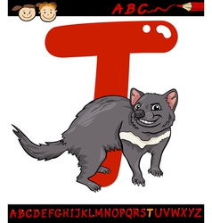 Letter t for tasmanian devil cartoon vector