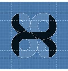 Round engineering font Symbol X vector image