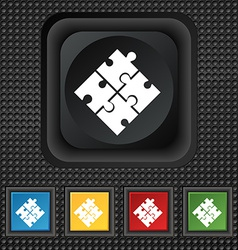 Puzzle piece icon sign symbol squared colourful vector