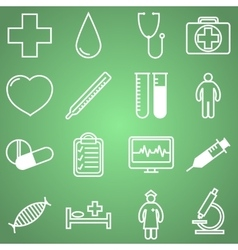 Medical icons set in linear vector