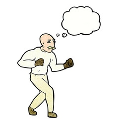 Cartoon victorian boxer with thought bubble vector