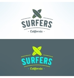 Surfing logo with surfboards surfing shop vector