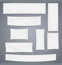 White textile banners with folds template vector