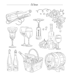 Wine and accessories hand drawn set vector