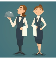 Waiter and waitress character design cartoon vector image