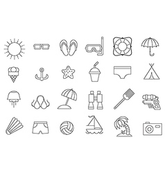 Black resort icons set vector