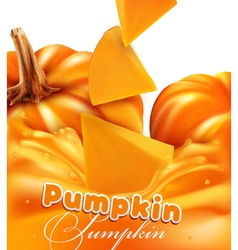 Orange background with slices of pumpkin vector