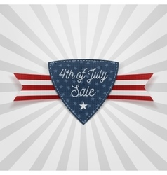 Fourth of july sale badge with ribbon vector